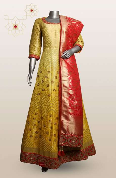 Readymade Designer Yellow Silk Gown with Banarasi Dupatta - 911-135