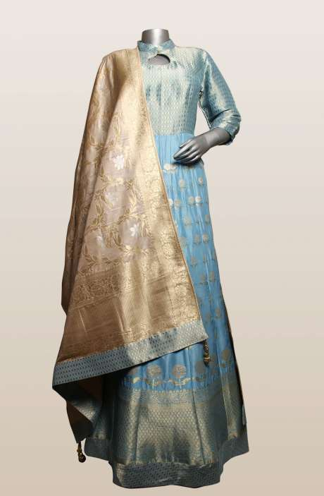 Blue Banarasi Silk Designer Gown (Made-to-Order) - 911-145