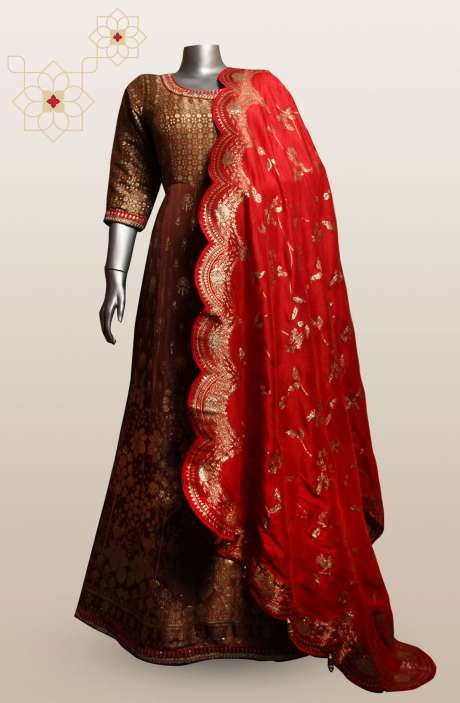 Readymade Designer Brown Silk Gown with Beautiful Dupatta - 911-147