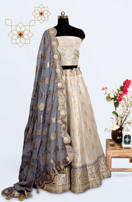 Cream Silk Brocade Work Designer Lehenga with Choli - 911-713