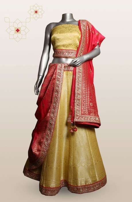 Yellow Designer Brocade Zari & Sequins Work Lehenga with Choli (Made-to-Order) - 911-719
