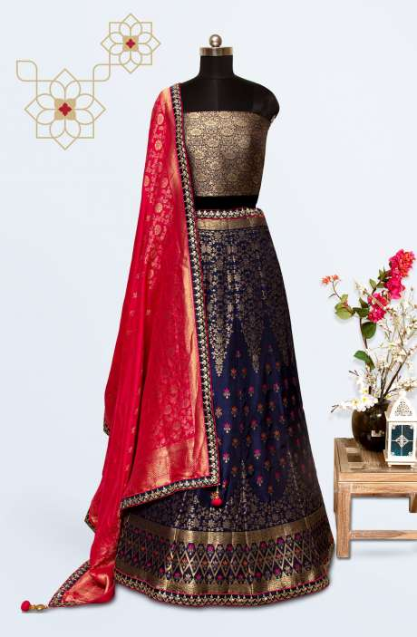 Blue Silk Brocade Work Designer Lehenga with Choli - 911-723
