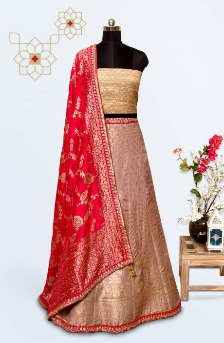 Silk Brocade Work Designer Lehenga with Choli In Mauve - 911-724