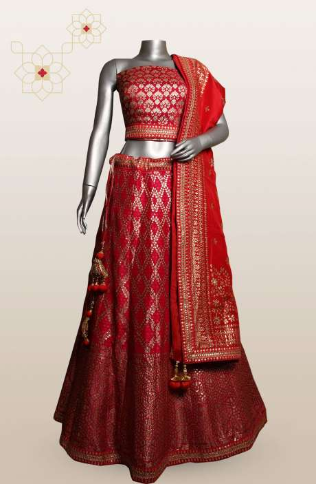 Pink Banarasi Designer Bridal Lehenga with Choli - 911-733