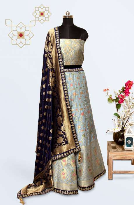 Grey Silk Brocade Work Designer Lehenga with Choli - 911-750