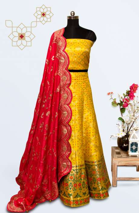 Yellow Silk Brocade Work Designer Lehenga with Choli - 911-758
