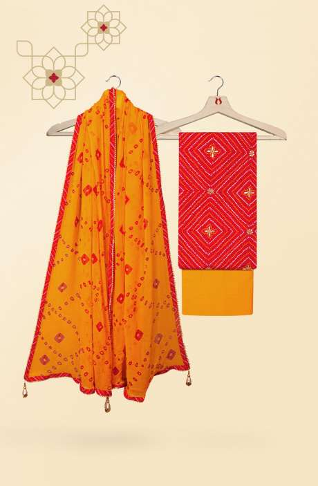 Beautiful Bandhej Print Cotton Salwar Kameez In Red - 912-LA6460