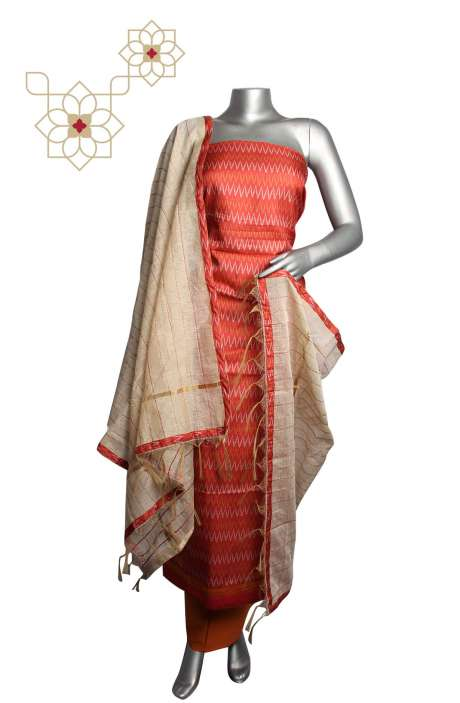 Tussar Silk Rust & Orange Printed Zig Zag Unstitched Salwar Kameez - 919-82C