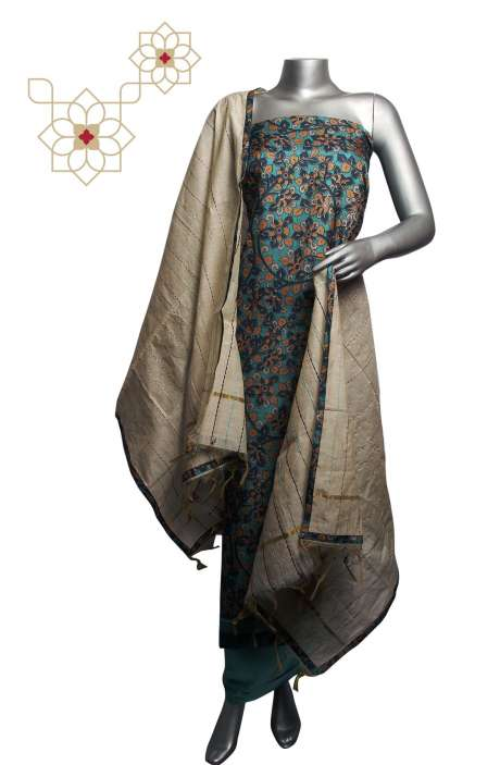 Russian Silk Digital Printed Multi & Sea Green Salwar Suit Sets with Kantha Work Dupatta - 919-94C