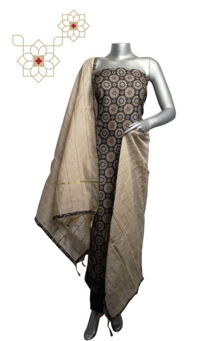Russian Silk Digital Printed Multi & Black Salwar Suit Sets with Kantha Work Dupatta - 919-94D