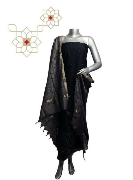 Cotton Printed Black & Grey Salwar Suit Sets with Hand Work - 919-95