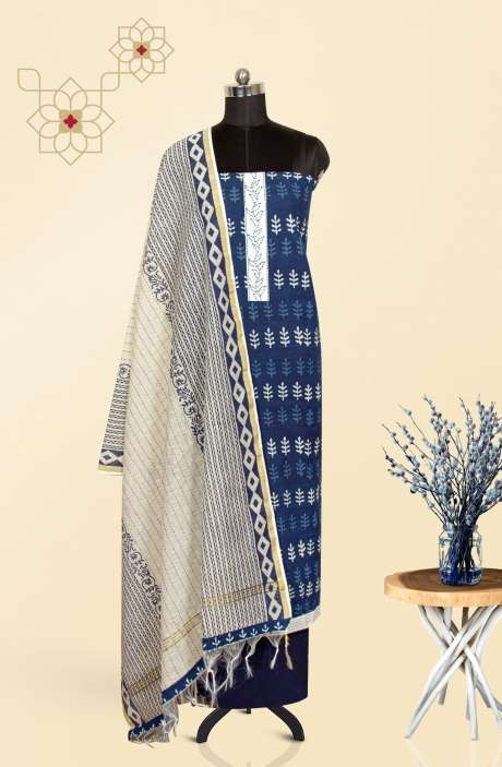 Cotton Printed Salwar Suit Set In Blue & White with Chanderi Dupatta - 919-KKE610