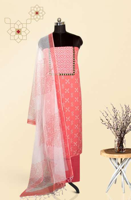 Cotton Printed Salwar Suit Set In Pink with Kota Dupatta - 919-KKE714A
