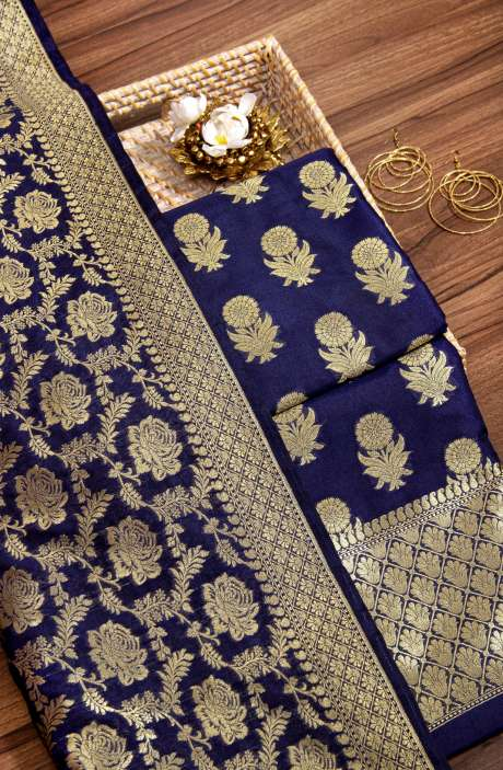 Banarasi Silk Beautiful Brocade Work Salwar Kameez In Blue - 942-2210B