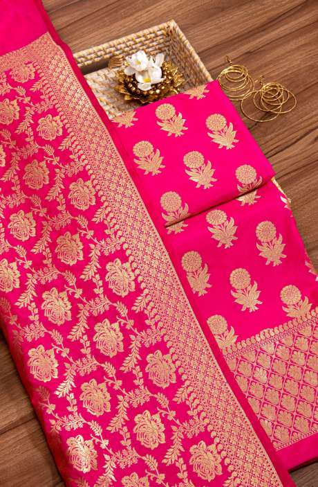 Banarasi Silk Beautiful Brocade Work Salwar Kameez In Rani Pink - 942-2210D