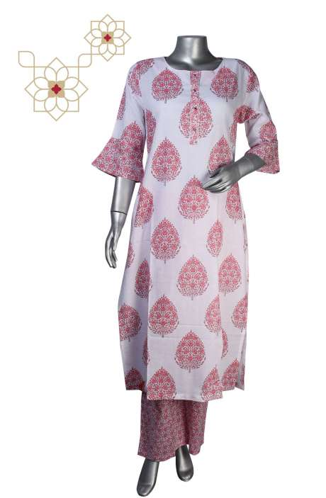 Women Printed Stitched Cotton A-line Kurti with Palazzo in White & Pink - 964-1523
