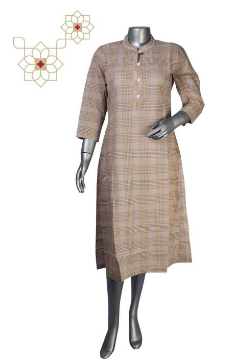 Readymade Cotton Beige Striped A-line Kurta- 964-1797