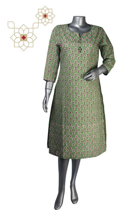 Printed Stitched Cotton Kurti in Green - 964-1865