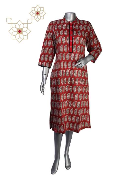 Maroon Cotton Printed Stitched Women Kurti - 964-1868
