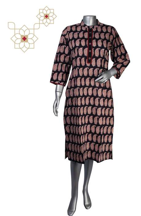 Black Cotton Printed Stitched Women Kurti - 964-1868A