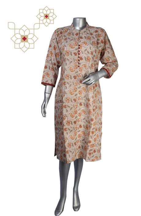 Beige Cotton Printed Stitched Women Kurti - 964-1872
