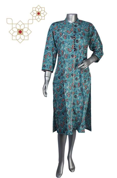 Firozi Cotton Printed Stitched Women Kurti - 964-1872A