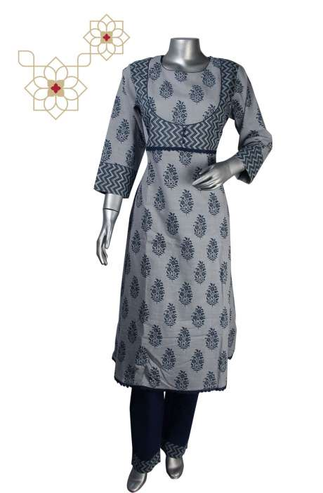 Women Printed Stitched Cotton Asymmetrical Kurti with Pants in Grey & Blue - 964-1880
