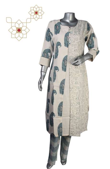 Women Printed Readymade Handloom Cotton A-line Kurti with Pants in Cream - 964-1887