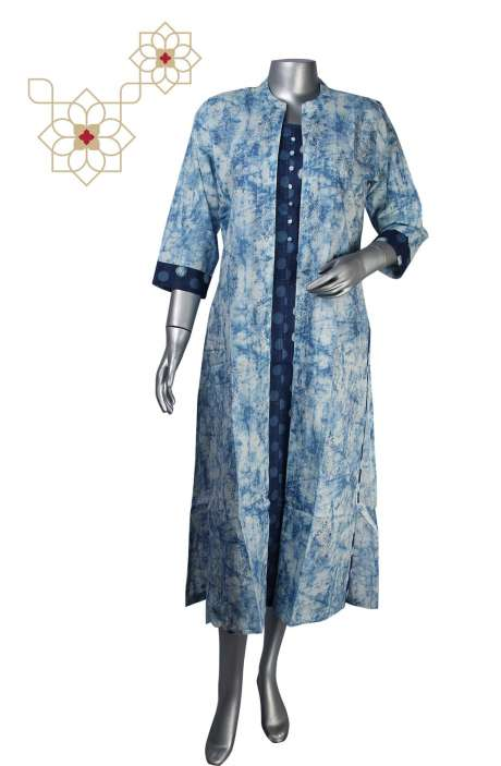 Readymade Pure Cotton Jacket Style Printed Kurtis in Blue & Cream - 964-1962