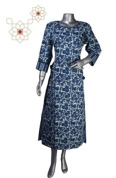 Women Asymmetrical Printed Cotton Kurti in Blue - 964-5008