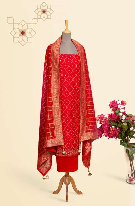 Designer Exclusive Unstitched Partywear Chinon Salwar Kameez In Red - 969-2847A
