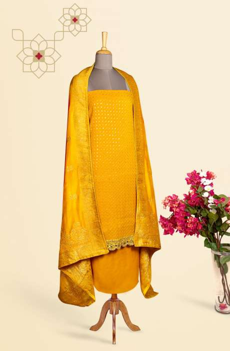 Designer Exclusive Unstitched Partywear Georgette Salwar Kameez In Yellow with Banarasi Silk Dupatta - 969-2951B