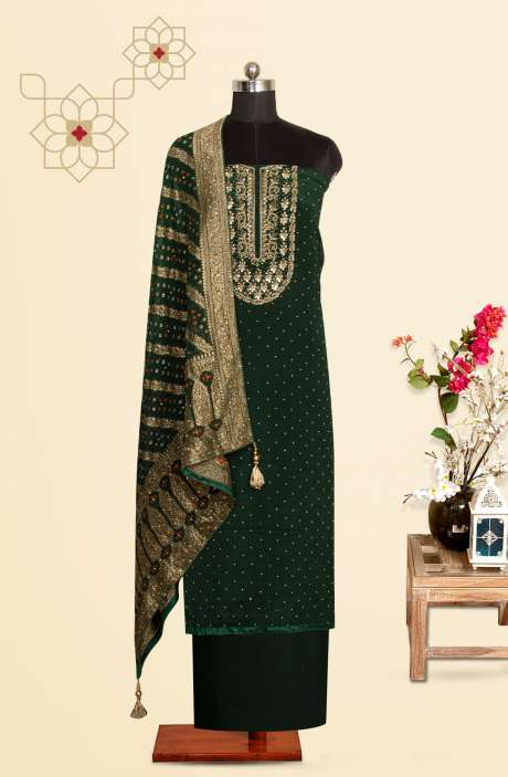 Bottle Green Chinon Festive Special Unstitched Suit Set with Banarasi Silk Dupatta - 969-3165