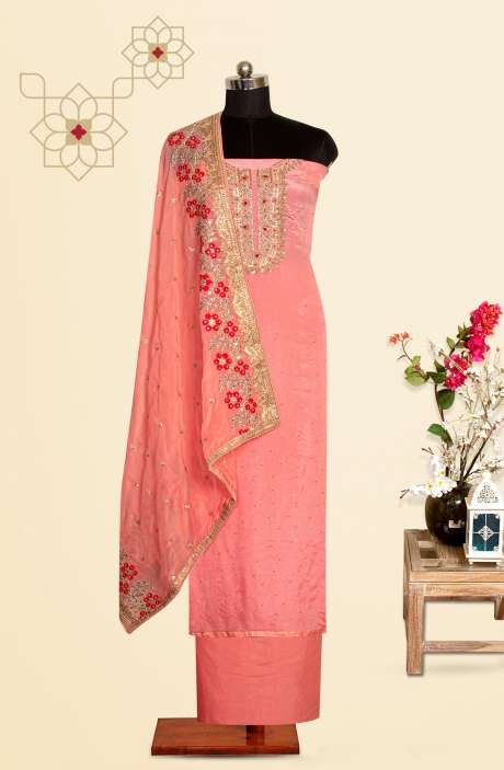 Peach Chinon Festive Special Unstitched Suit Set with Organza Dupatta - 969-3187