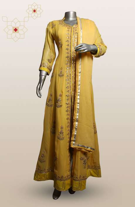 Readymade Georgette Designer Yellow Anarkali Suit - 970-ANARKALI03A