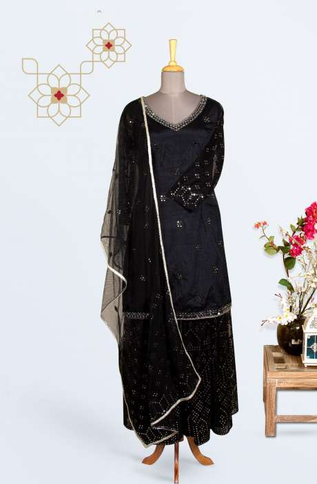 Designer Silk Partywear Stitched Sharara Suit In Black - 971-D174D