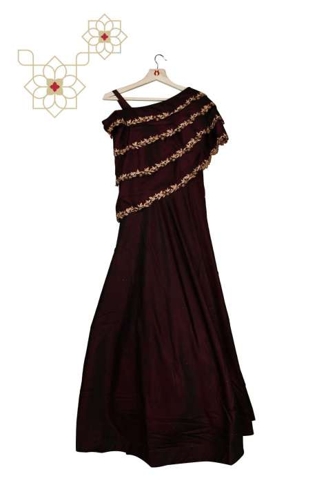 Stitched Purple Designer Silk Gown with Net Dupatta - 977-139A