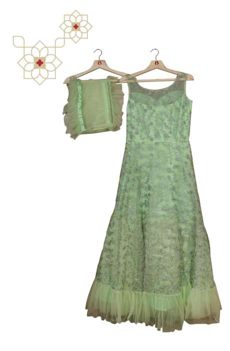 Stitched Lime Green Designer Net Gown - 977-140