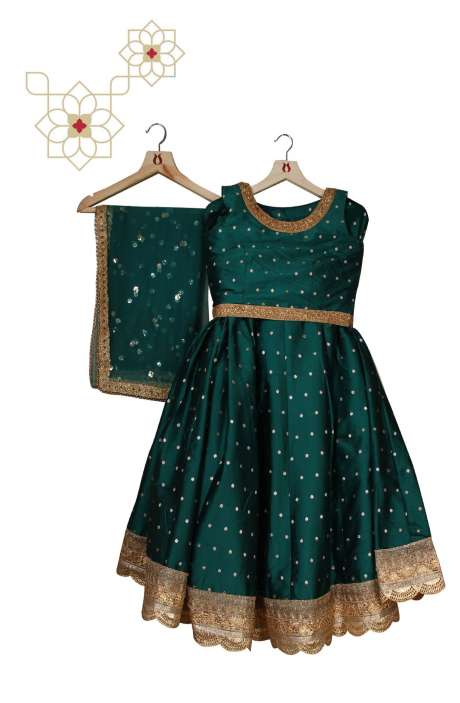 Stitched Dark Green Silk Designer Lehenga Choli with Net Dupatta - 977-153