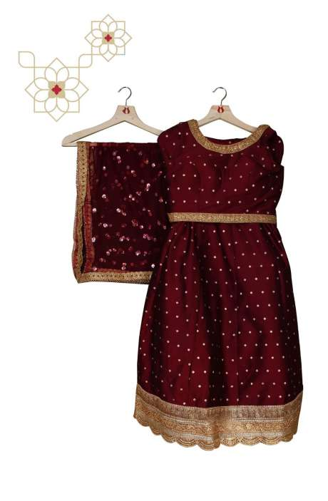 Stitched Wine Silk Designer Lehenga Choli with Net Dupatta - 977-153C