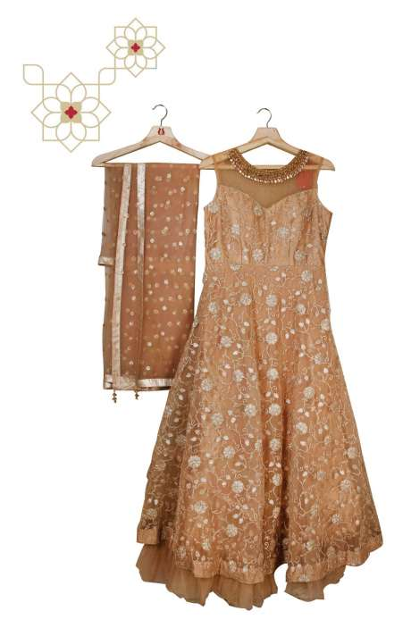 Stitched Embellished Designer Net Gown In Beige - 977-160