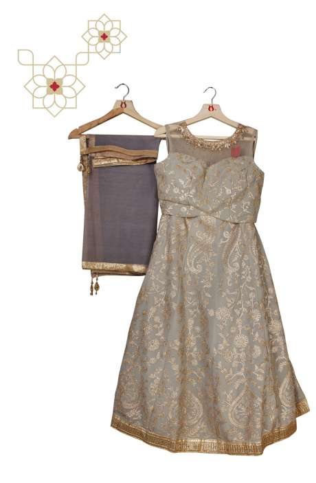 Stitched Pastel Grey Georgette Designer Lehenga Choli with Net Dupatta - 977-175