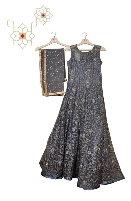 Stitched Grey Designer Net Gown - 977-191