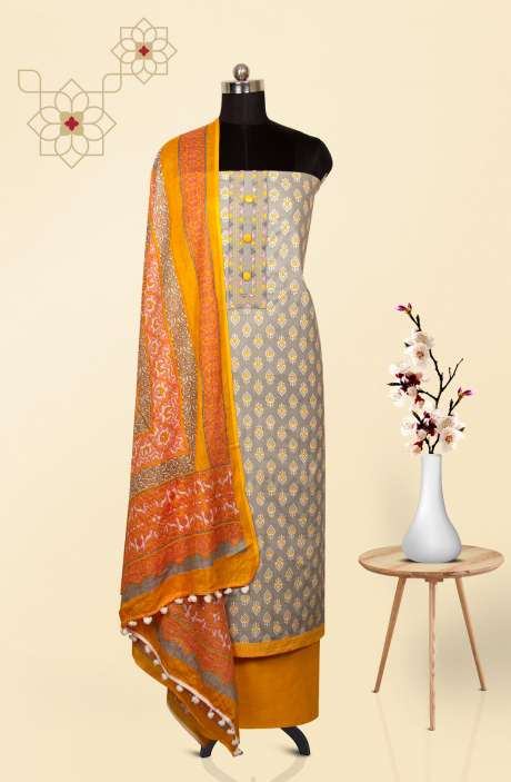 Cotton Printed Salwar Suit In Grey & Mustard - 983-2461A