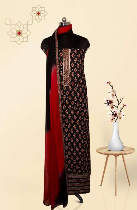 Cotton Printed Salwar Kameez In Black - 983-2593
