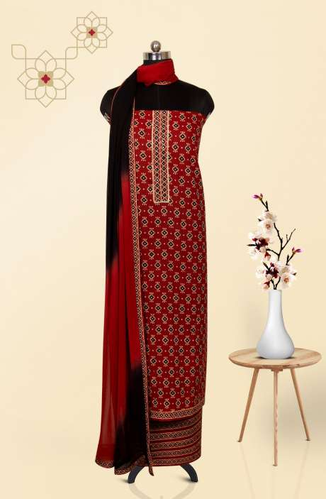 Cotton Printed Salwar Kameez In Rust - 983-2593A