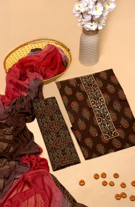 Cotton Printed Unstitched Salwar Kameez In Brown with Chiffon Dupatta - 983-2595A