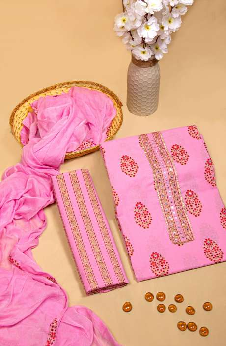 Cotton Printed Unstitched Salwar Kameez In Pink with Chiffon Dupatta - 983-2598