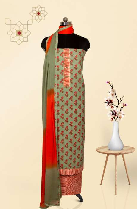 Cotton Printed Salwar Suit Dupatta In Pastel Green - 983-2601
