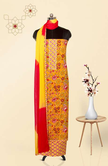 Cotton Printed Salwar Suit Dupatta In Mustard & Multi - 983-2605
